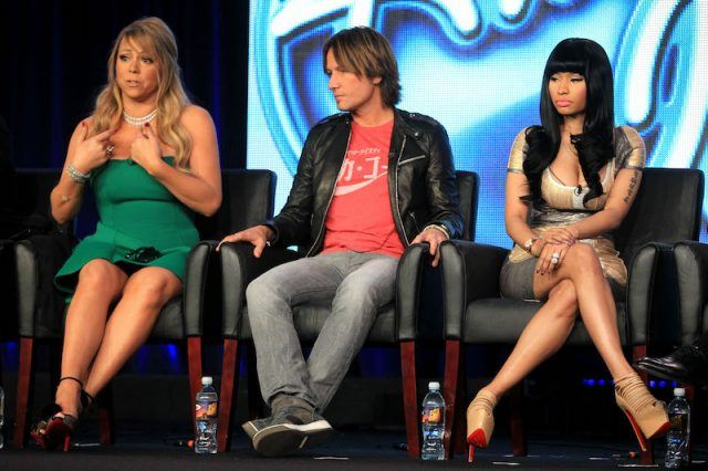 Mariah, Keith and Nicki sitting together at a tour for American Idol.