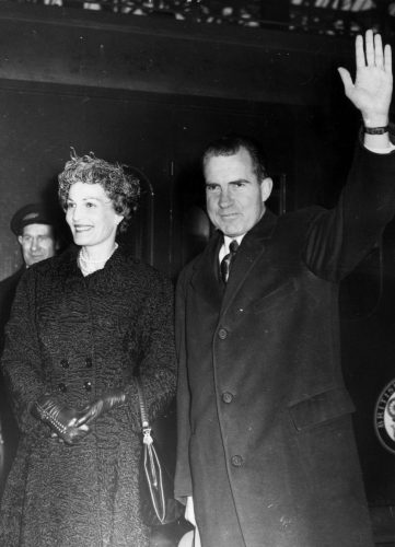 American Vice-President Richard Nixon and his wife Pat give a wave on their arrival at Victoria Station