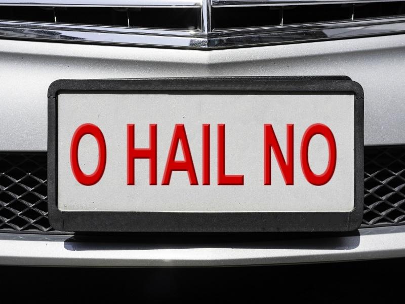 O HAIL NO licence plate