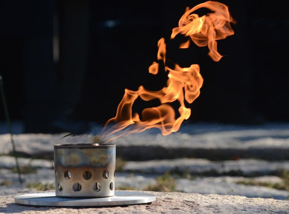 The eternal flame burns at the gravesite of former President John F Kennedy