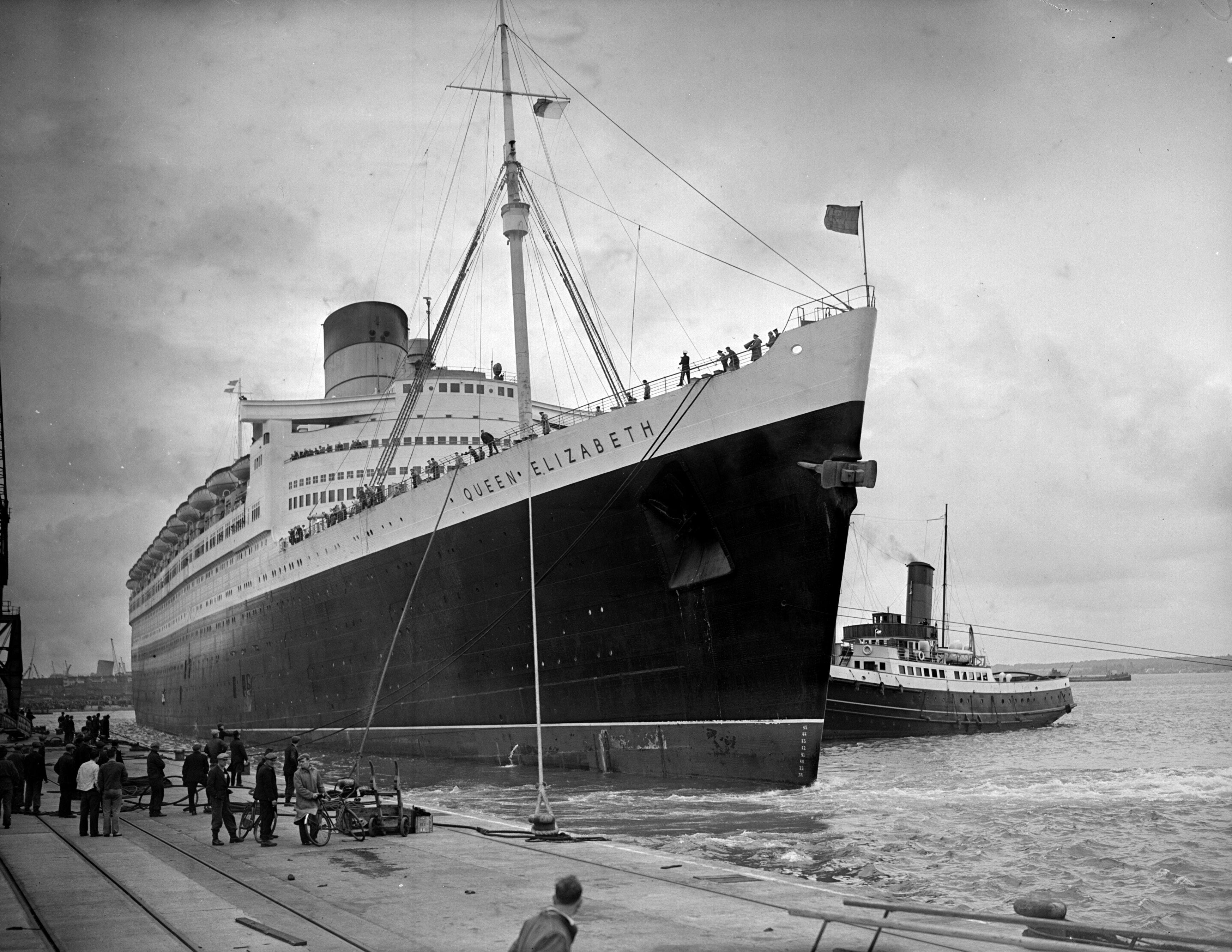 Queen Elizabeth II luxury liner ship docked at south hampton
