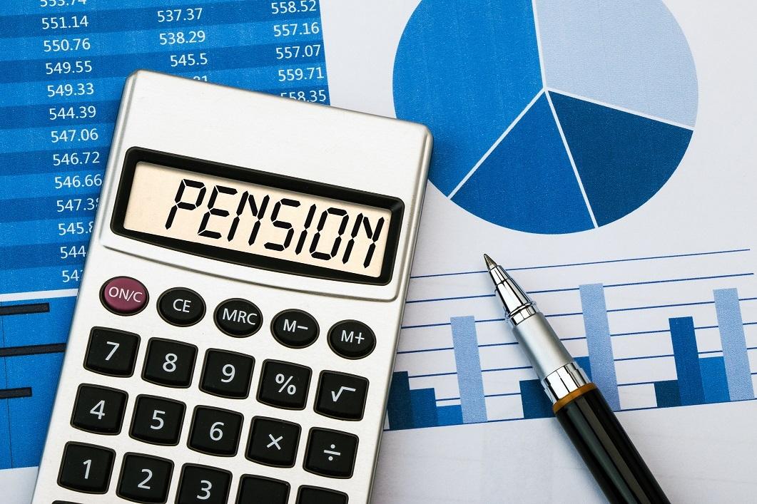 pension displayed on calculator