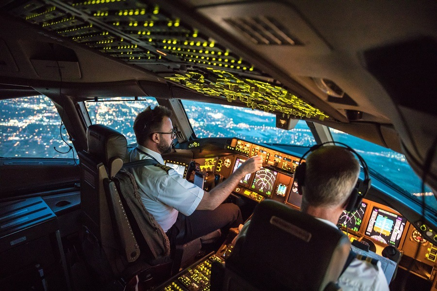 Two pilots at work during departure