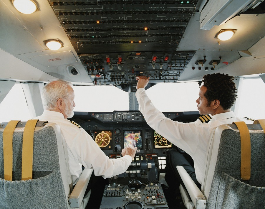 Pilots Sitting in the Cockpit