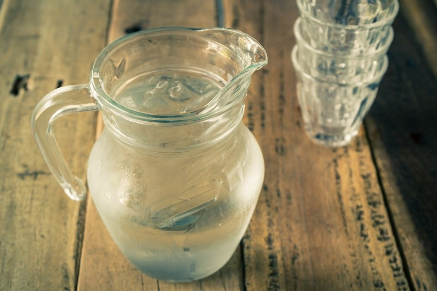 Glass pitcher of water
