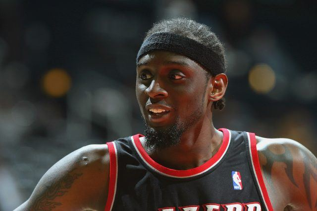 Darius Miles #23 of the Portland Trail Blazers rests during the game