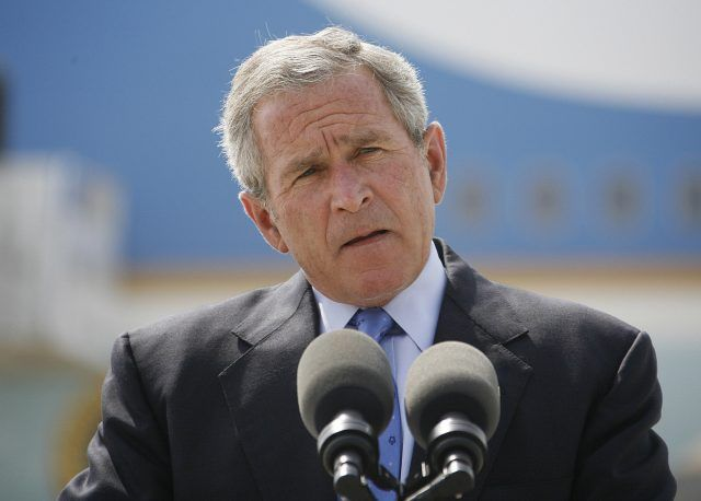 US President George W. Bush speaks