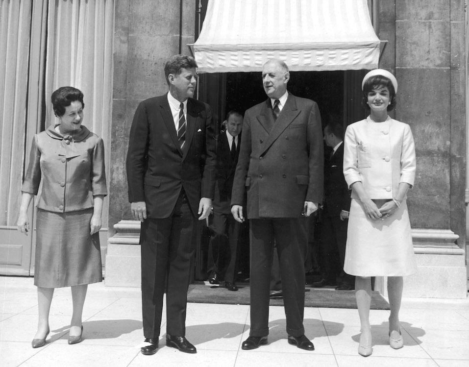 Presidents Kennedy, de Gaulle & wives in Paris, 6/1/61.