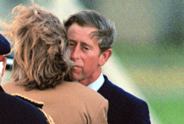 Prince Charles comforting Sarah Spencer at Princess Diana's funeral.