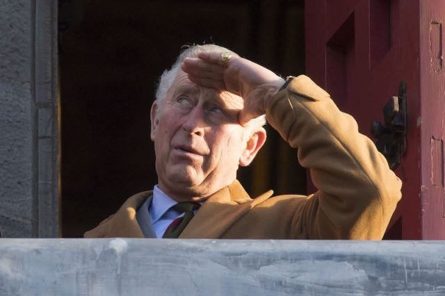 Prince Charles looking over his balcony.