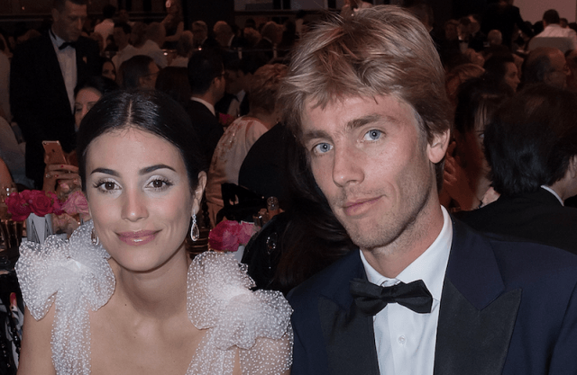 Alessandra de Osma and Prince Christian at a banquet.