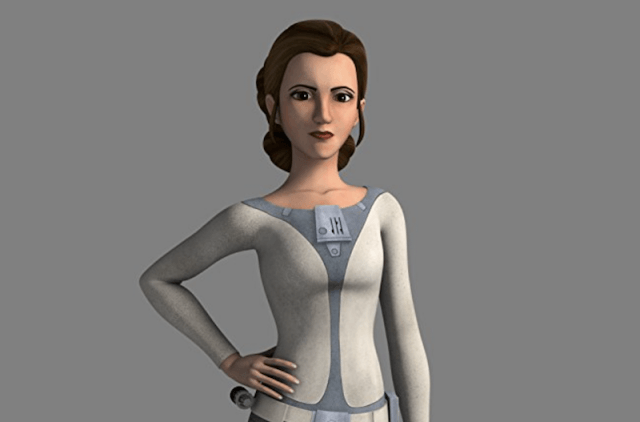 Princess Leia from 'Star Wars Rebels' posing with one hand on her hip.
