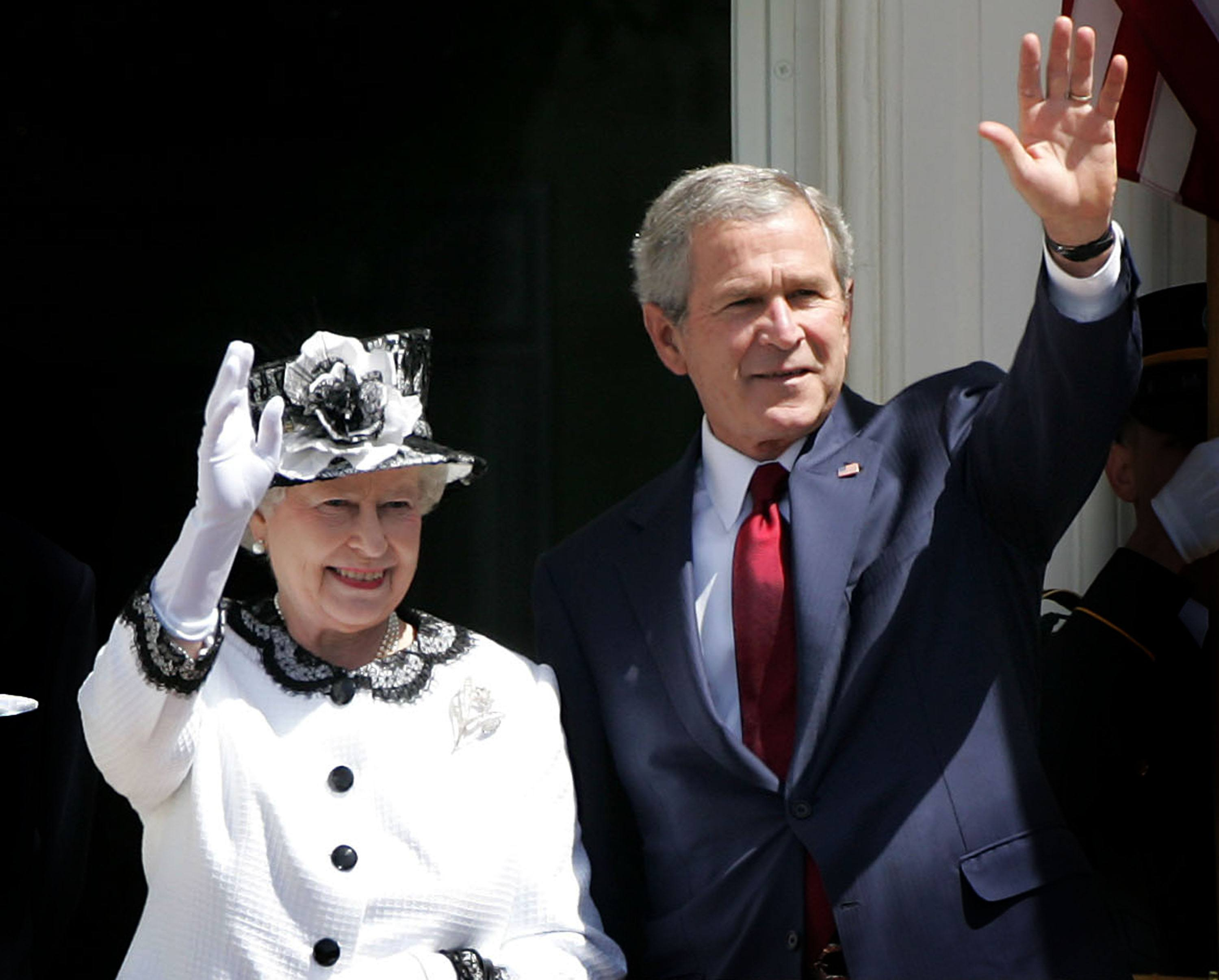 Queen Elizabeth and George W Bush