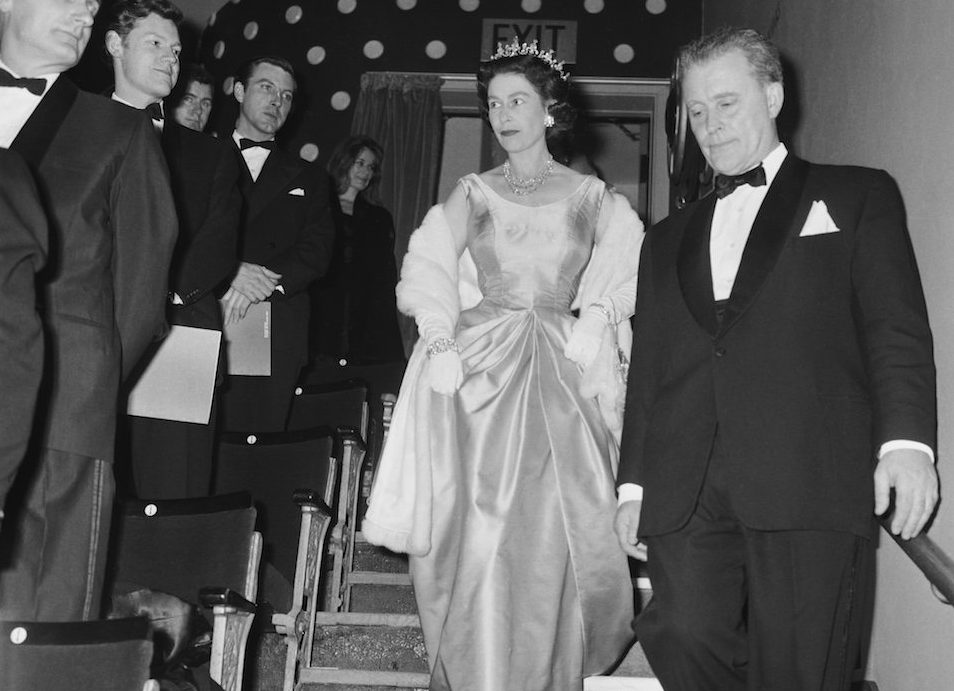 Queen Elizabeth II attends a performance at RADA