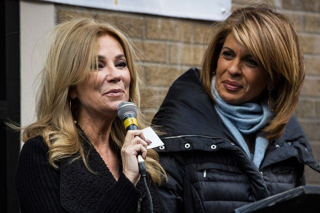 Kathie Lee Gifford and Hoda Kotb of the Today Show speak at a press conference before serving meals