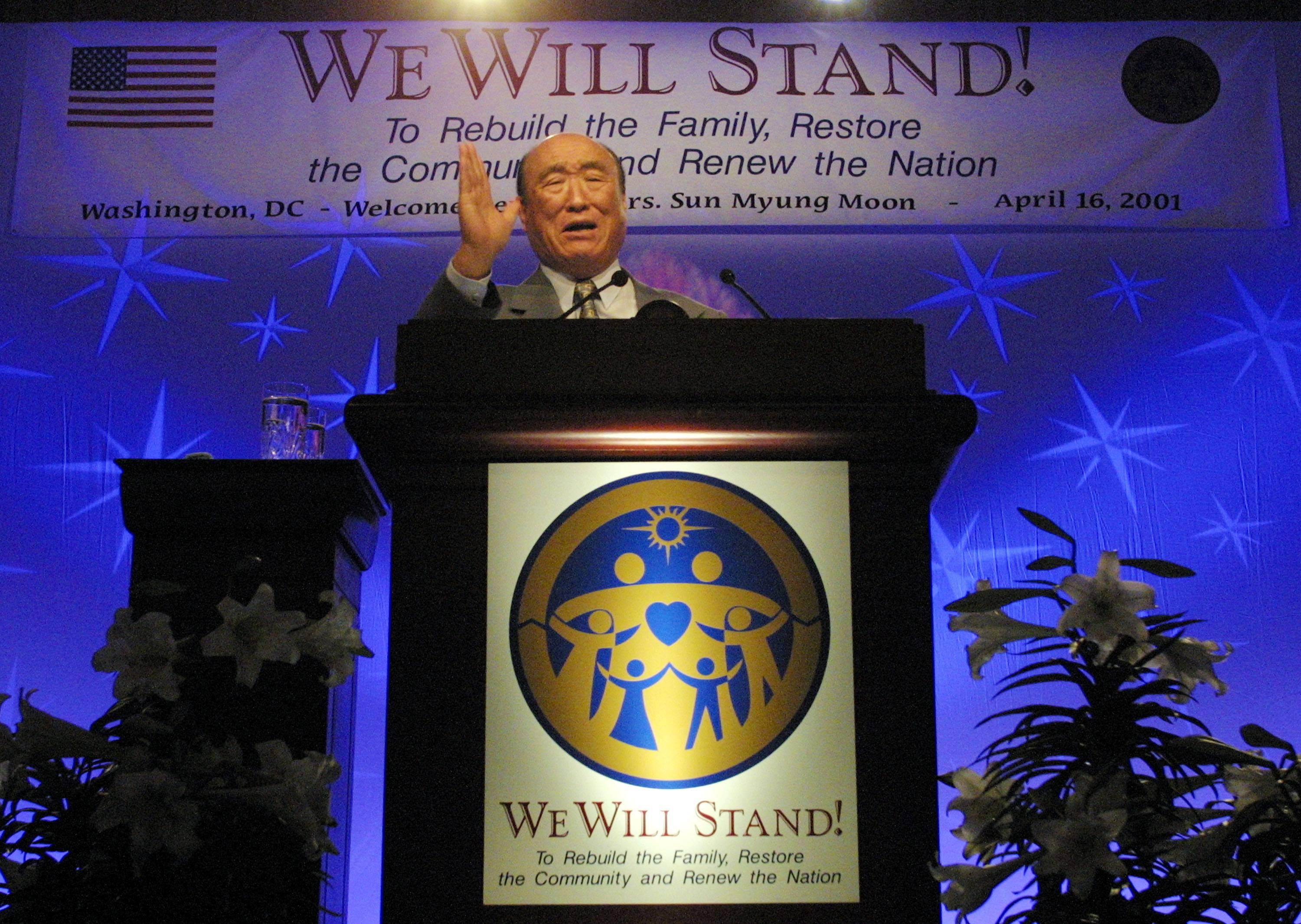 Reverend Sun Myung Moon founder of the Family Federation for World Peace and Unification, speaks