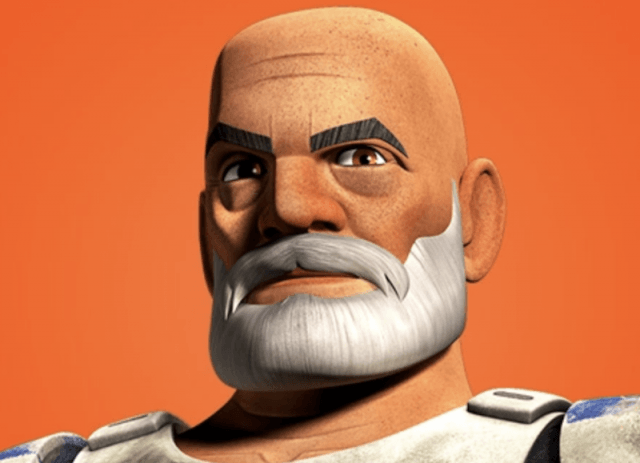 Captain Rex in front of an orange background.