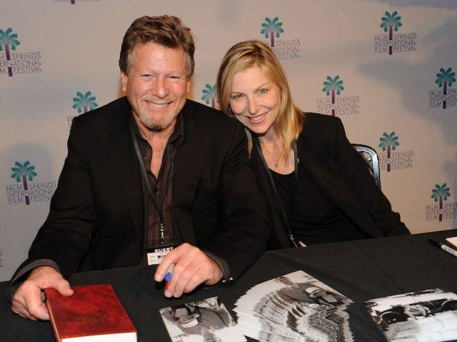 Tatum O'Neal and Ryan O'Neal at a fan event.
