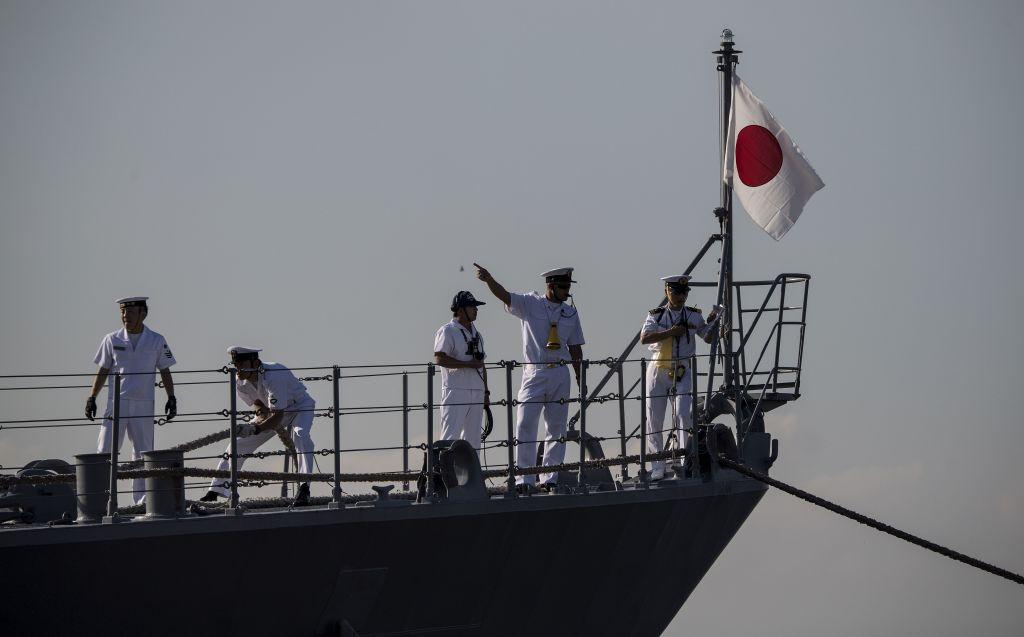 Sailors work on board