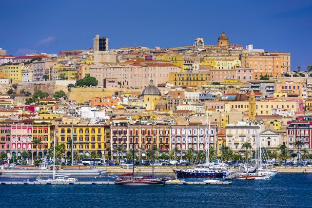 View from the water of the coastal town of Cagliari, Sardinia, Italy.