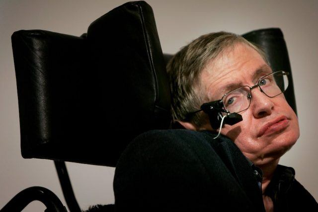 Professor Stephen Hawking delivers his speech at the release of the 'Bulletin of the Atomic Scientists'