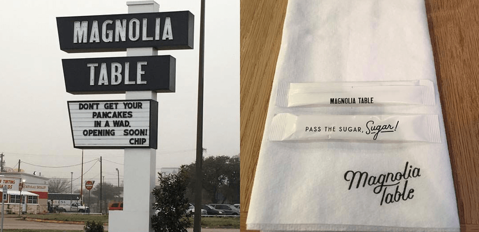Magnolia Table sign and napkin
