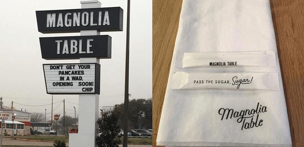 Magnolia Table sign and napkin