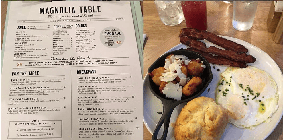 A close up of Magnolia Table menu