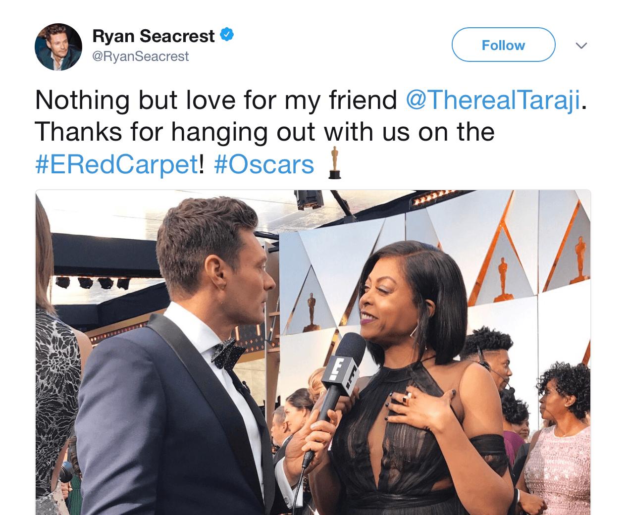 A screenshot of Ryan Seacrest's tweet