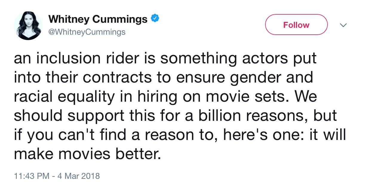 A screenshot of Whitney Cummings tweet
