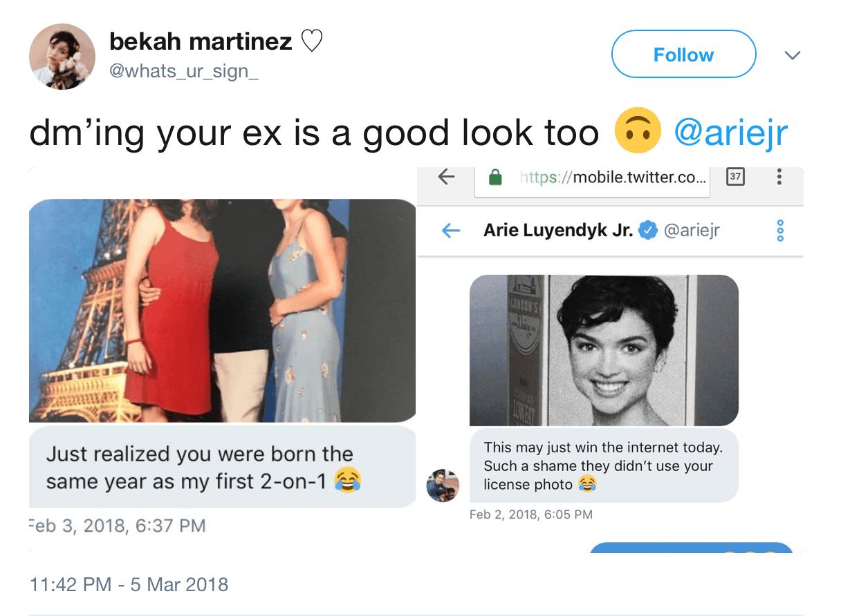 A screenshot of Bekah's tweets