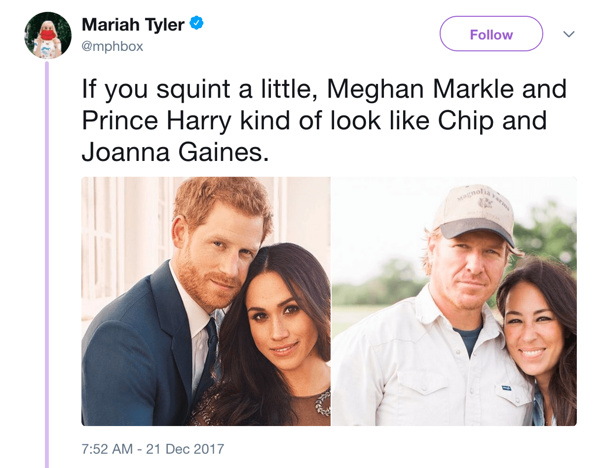 photos of Prince Harry and Meghan Markle next to Chip and Joanna Gaines