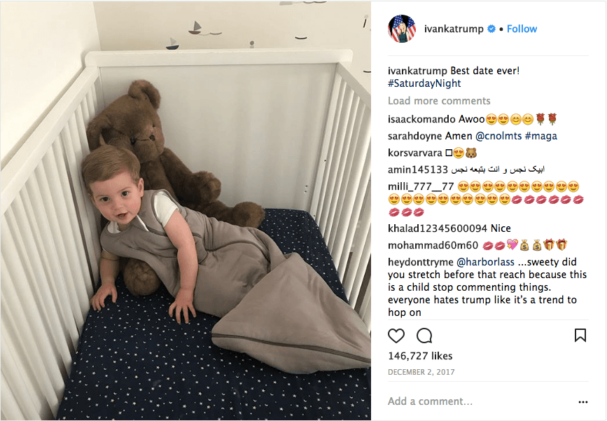 Ivanka Trump and Jared Kushner's child in a crib