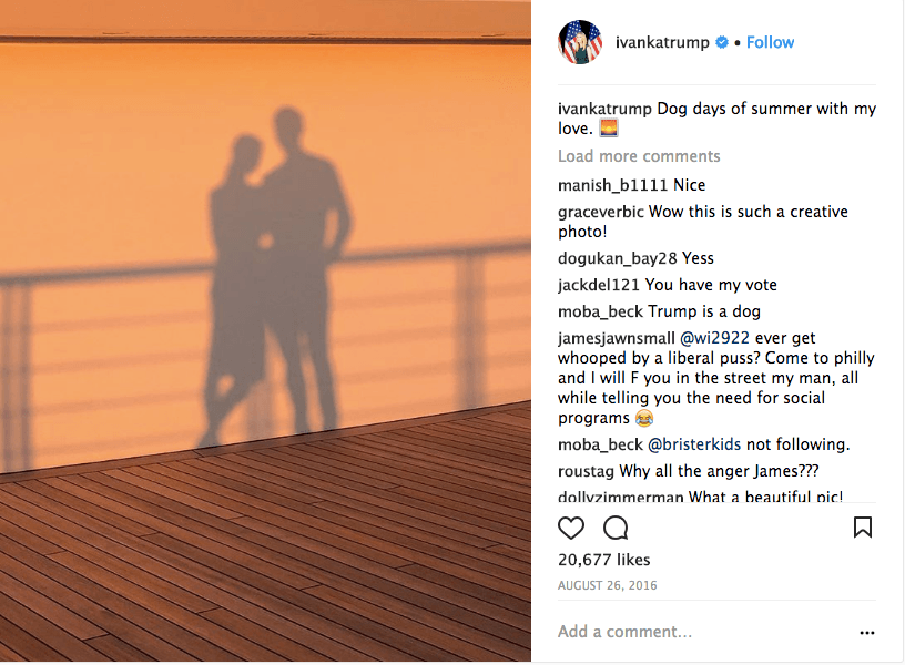 Ivanka Trump and Jared Kushner's shadows from a sunset