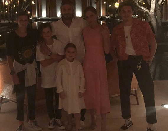 Victoria Beckham and her family on New Year's Eve