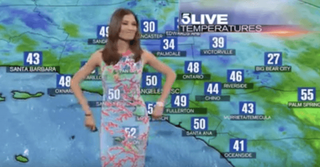 Liberté Chan wearing a see-thru dress while doing a weather report.