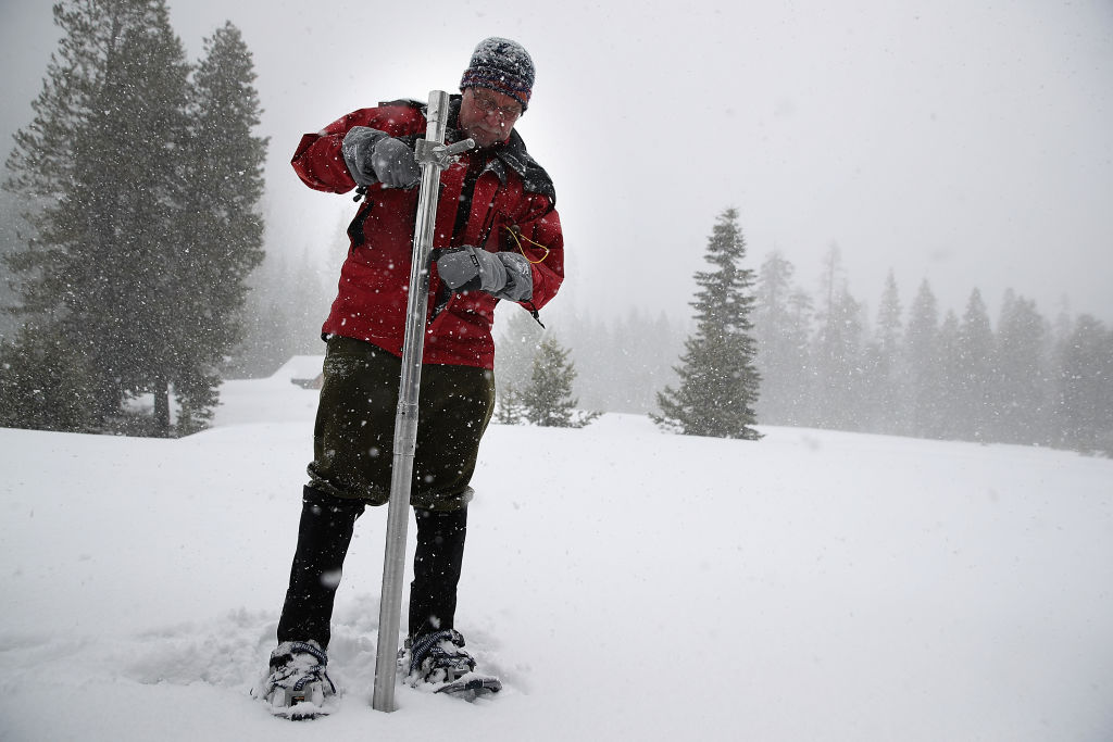 California Dept. Of Water Resources Survey The Snowpack Within The Sierra Nevada Mtns.