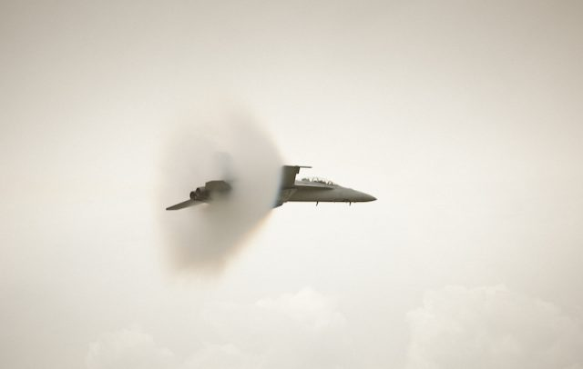 A jet is about to break the sound barrier.