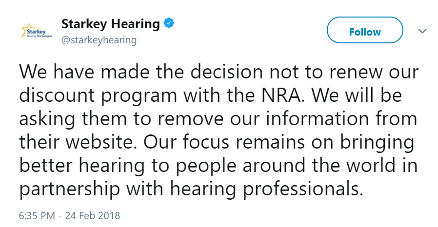 Starkey Hearing Tweet NRA