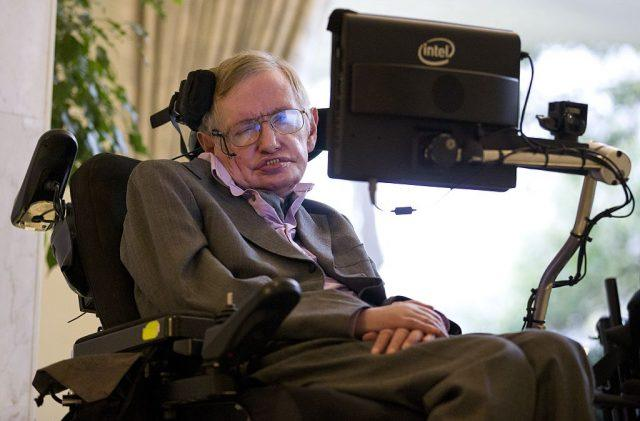 British theoretical physicist professor Stephen Hawking speaks to members of the media.