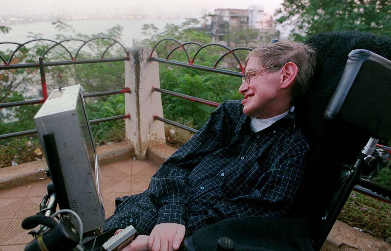 World-renowned physicist Stephen Hawking looks at the Bombay city skyline