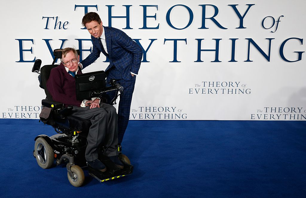 Stephen Hawking and Eddie Redmayne at the premier of The Theory of Everything