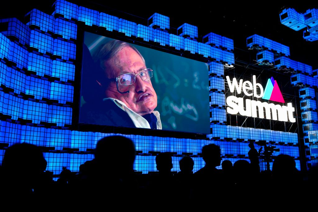 British cosmologist Stephen Hawking delivers a video message