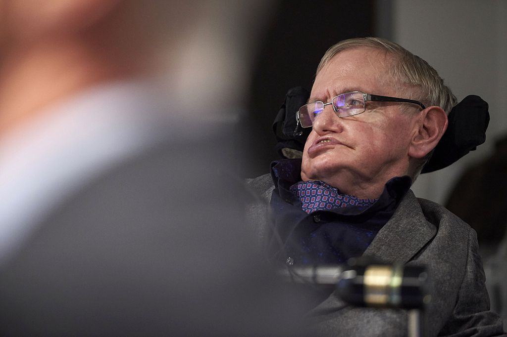 British theoretical physicist professor Stephen Hawking speaks to members of the media