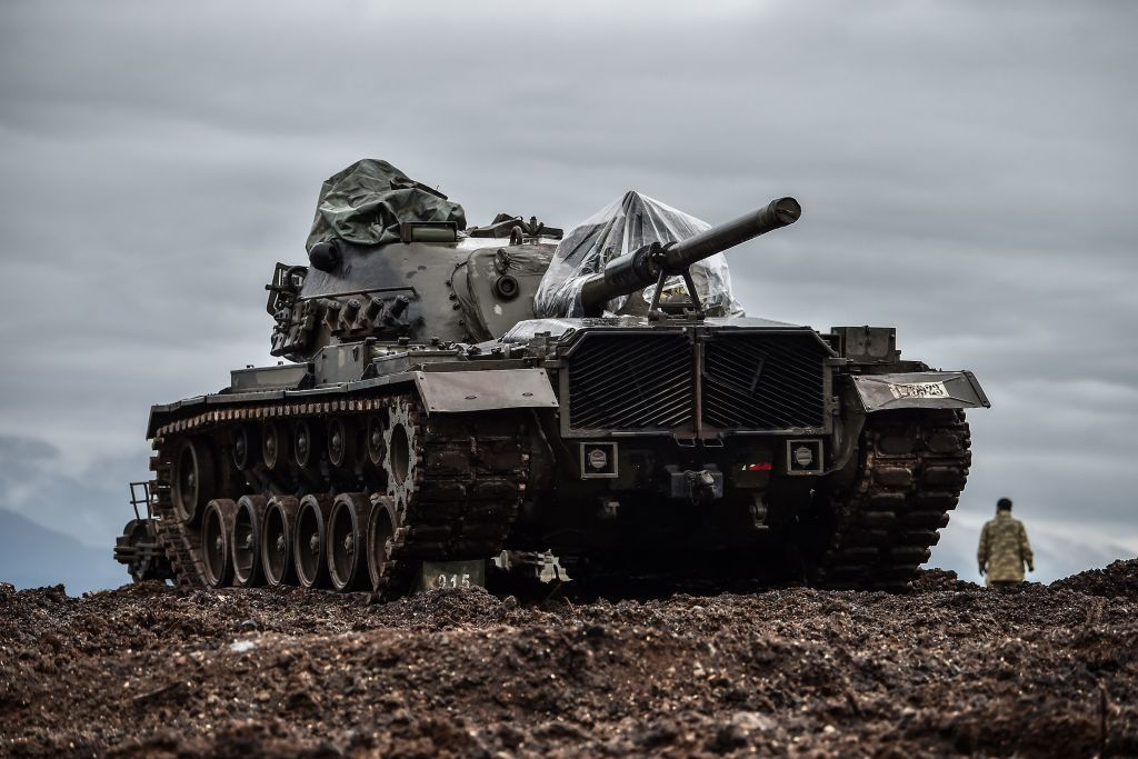 A Turkish tank is stationed near the Syrian border at Hassa