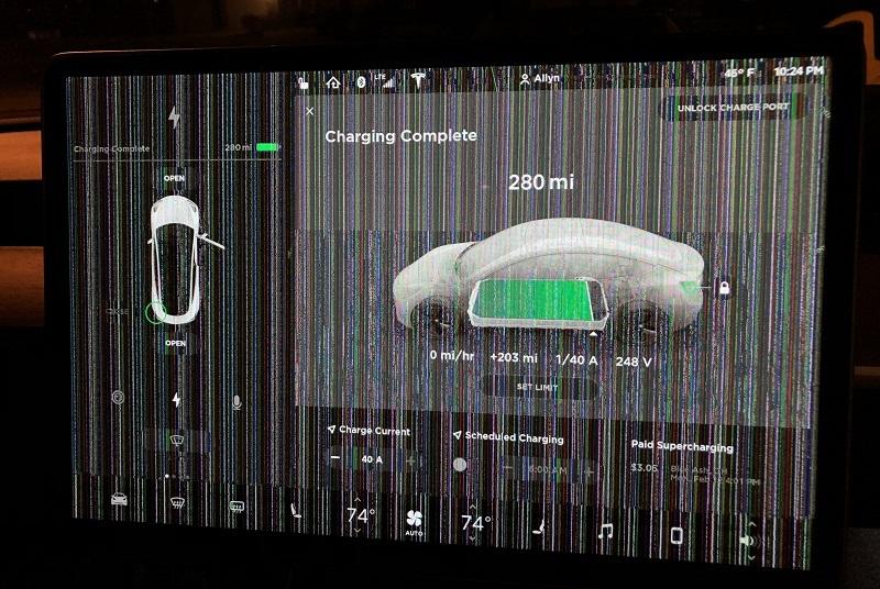 View of a failing Tesla Model 3 touchscreen