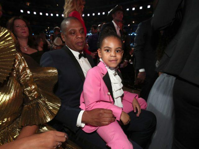 Hip-Hop Artist Jay-Z and daughter Blue Ivy Carter during The 59th GRAMMY Awards at STAPLES Center