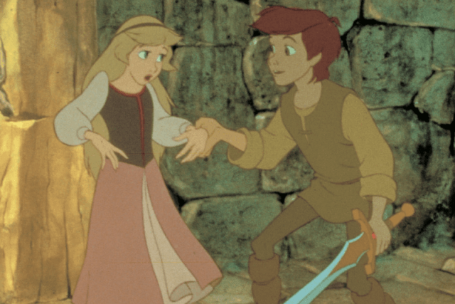 A girl and boy holding hands in 'The Black Cauldron'.