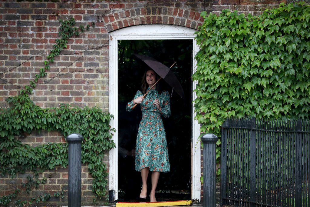 Catherine, Duchess of Cambridge is seen during a visit to The Sunken Garden at Kensington Palace