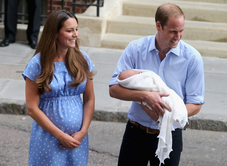 Prince William, Duke of Cambridge and Catherine, Duchess of Cambridge, depart The Lindo Wing with their newborn son Prince George of Cambridge at St Mary's Hospital